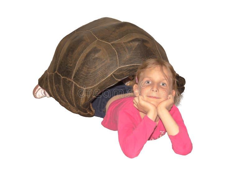 Kleines Mädchen, das innerhalb der leeren Hülle einer riesigen Schildkröte liegt Weißer Hintergrund lokalisiert lizenzfreie stockfotografie