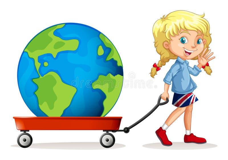 Kleines Mädchen, das Lastwagen mit einer Kugel auf ihr zieht lizenzfreie abbildung