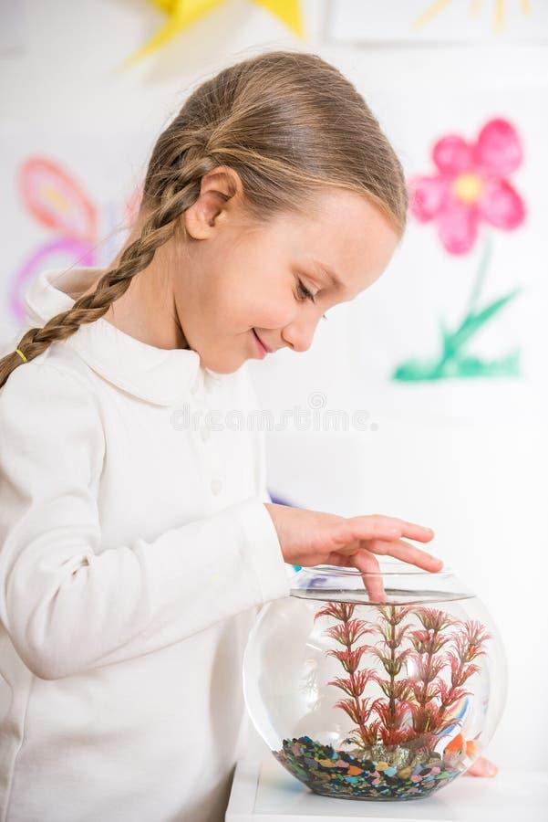 Kleines Mädchen, das mit Goldfischen spielt stockfoto