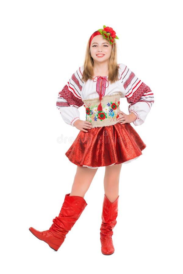 Kleines Mädchen, das nationale Kleidung trägt stockbild