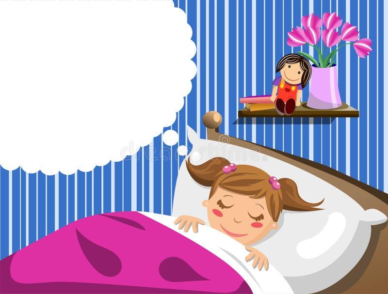 Kleines Mädchen, das Träume schläft und hat vektor abbildung