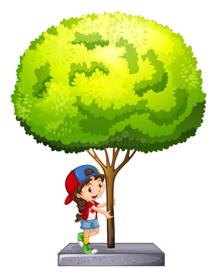 Kleines Mädchen, das unter dem Baum steht vektor abbildung