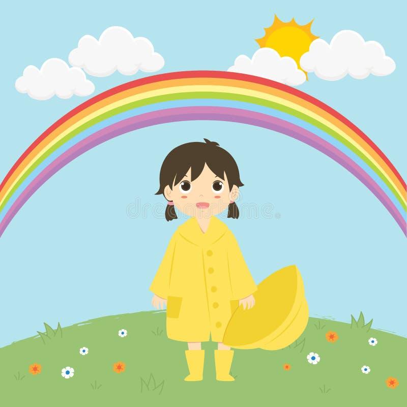Kleines Mädchen, das unter der Regenbogen-Vektor-Illustration steht lizenzfreie abbildung
