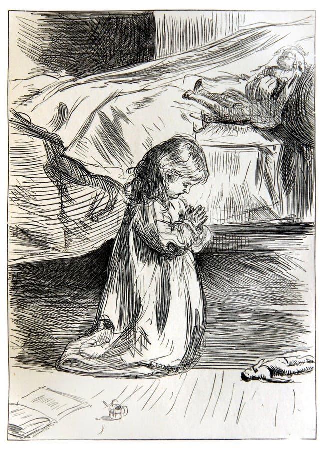 Kleines Mädchen, das vor Schlafenszeit betet lizenzfreie abbildung