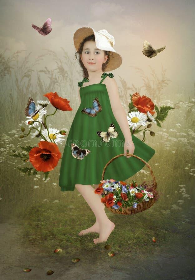Kleines Mädchen in den Mohnblumen stock abbildung