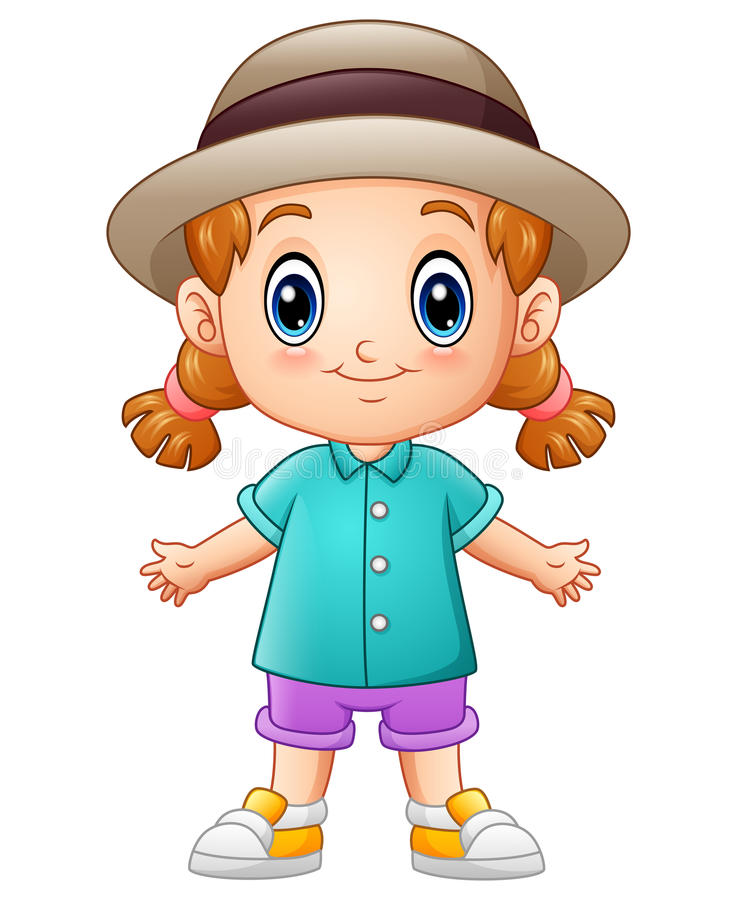 Kleines Mädchen der netten Karikatur in einem Hut stock abbildung