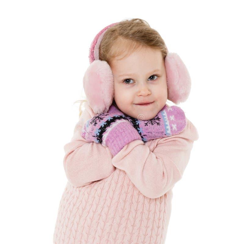 Kleines Mädchen in der Winterkleidung stockbild