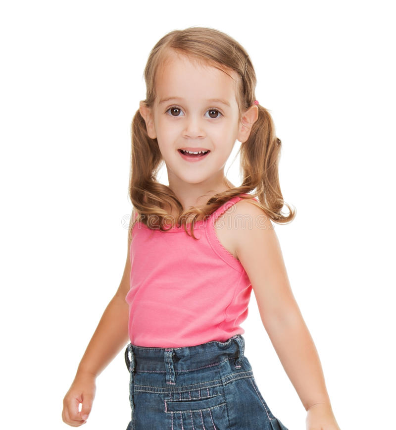 Kleines Mädchen in der zufälligen Kleidung stockfotografie