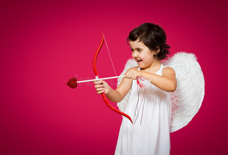 Kleines Mädchen des Amors stockbild