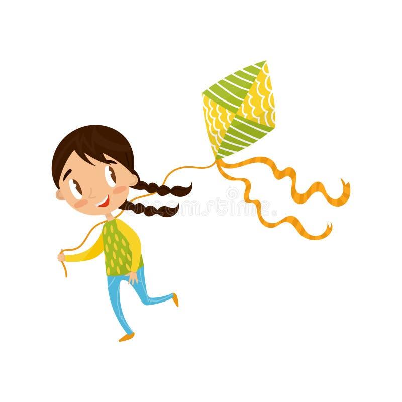 Kleines Mädchen des Brunette, das Drachen, nette Zeichentrickfilm-Figur-Vektor Illustration auf einem weißen Hintergrund spielt stock abbildung