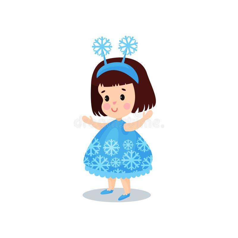 Kleines Mädchen des süßen Brunette im Kostüm der Schneeflocke, Kind in der festlichen Abendkleidkarikaturvektorillustration vektor abbildung