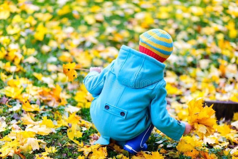 Kleines Mädchen draußen am Herbsttag lizenzfreies stockfoto