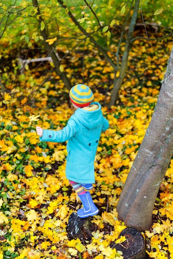Kleines Mädchen draußen am Herbsttag lizenzfreies stockbild