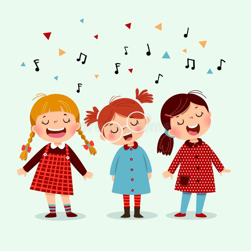 Kleines Mädchen drei, das ein Lied auf blauem Hintergrund singt Glückliche drei Kinder, die zusammen singen vektor abbildung