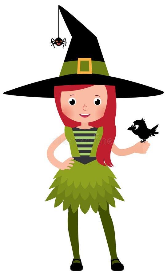 Kleines Mädchen in einem Druidehexenkostüm mit einer Krähe stock abbildung