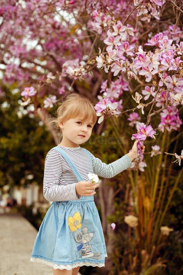 Kleines Mädchen in einem gestreiften Jeanskleid, das nahe einem Blühen steht lizenzfreie stockfotos