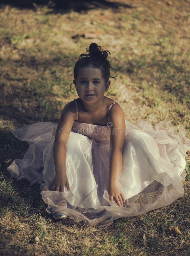 Kleines Mädchen in einem rosa Ballsaalkleid lizenzfreies stockbild