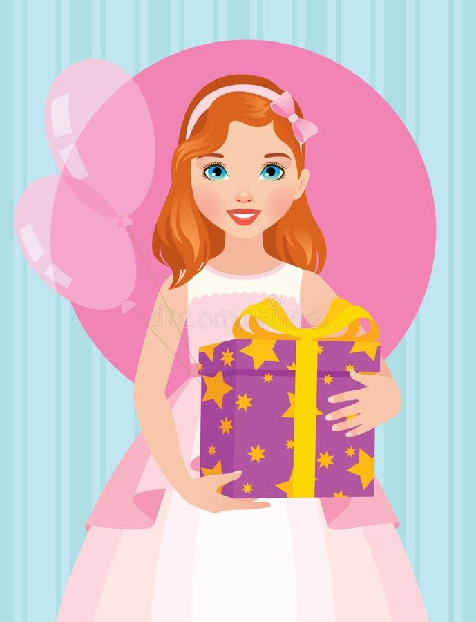 Kleines Mädchen in einem schönen Kleid hält einen Kasten von Geburtstag Gi lizenzfreie abbildung