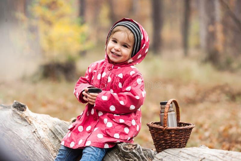 Kleines Mädchen in einer Erbsenjacke, die auf einem Baum und einem trinkenden Tee sitzt lizenzfreies stockfoto