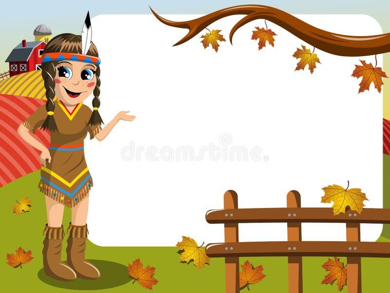 Kleines Mädchen-gebürtiges Indianisches Kostüm, Das Den Leeren ...