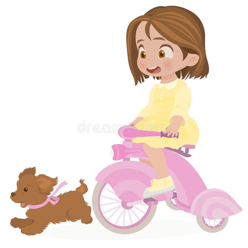 Kleines Mädchen geht auf ihr Fahrrad mit ihrem Hund heraus lizenzfreie abbildung