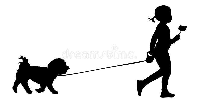 Kleines Mädchen geht der Hund, der eine LutscherEiscreme hält vektor abbildung