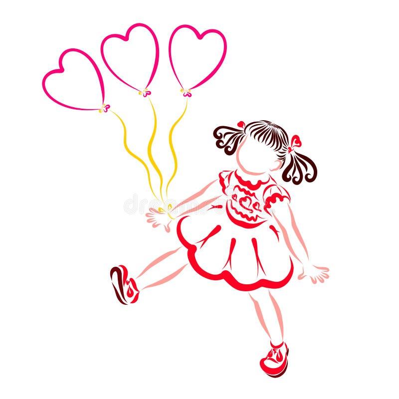 Kleines M?dchen geht mit geformten Ballonen des Herzens stock abbildung