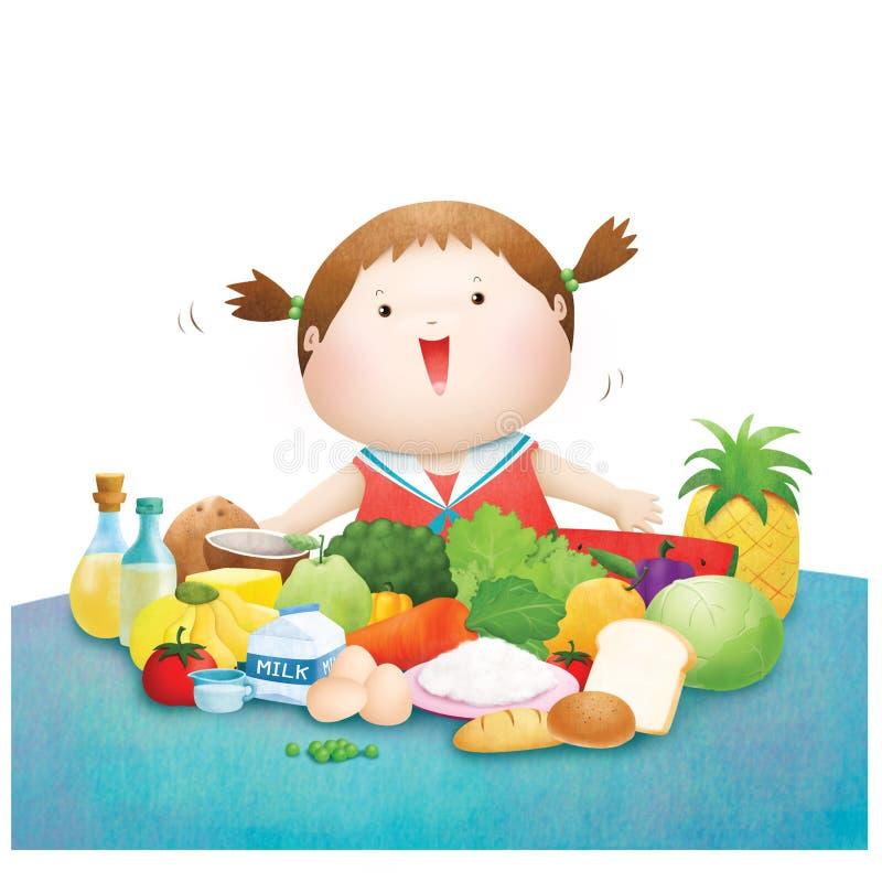 Kleines Mädchen genießen fünf Lebensmittelgruppe vektor abbildung