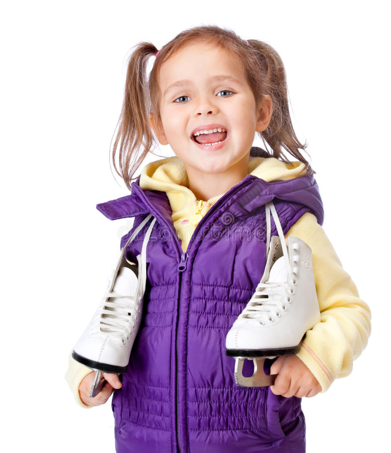 Kleines Mädchen hält Rochen auf weißem Hintergrund an lizenzfreies stockfoto