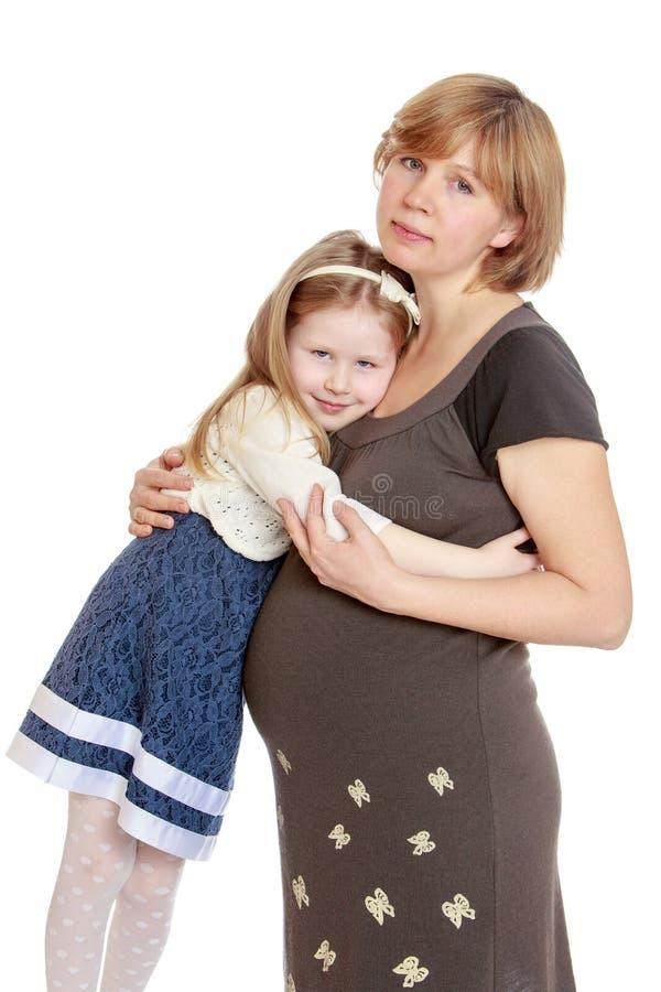 Kleines Mädchen haftete einer schwangeren Mutter an lizenzfreie stockfotografie
