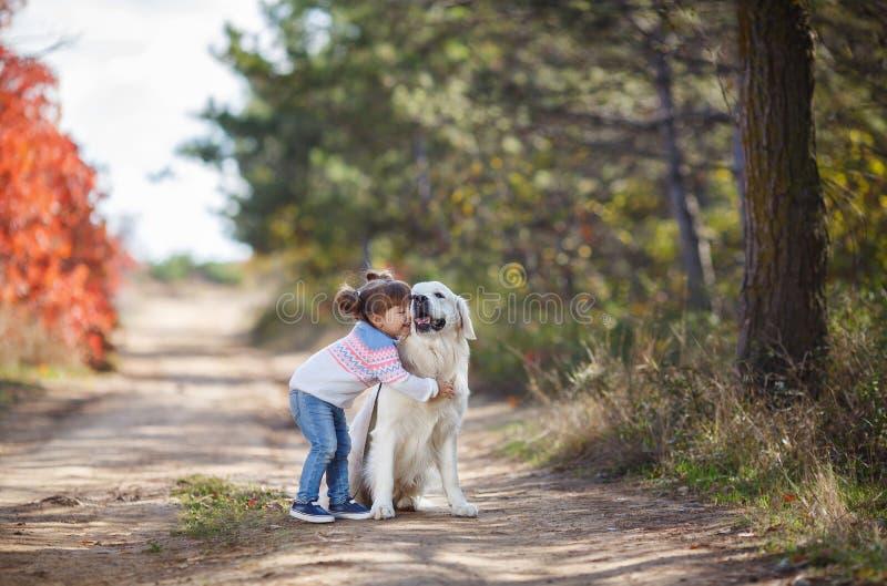 Kleines Mädchen in Herbst Park auf einem Weg mit einem schönen Hund lizenzfreie stockbilder