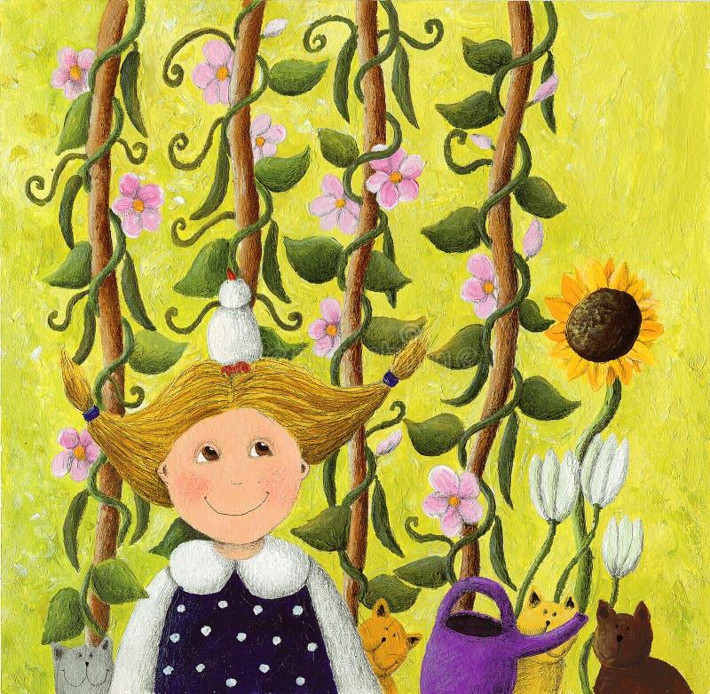 Kleines Mädchen im Garten mit rosafarbenen Blumen lizenzfreie abbildung