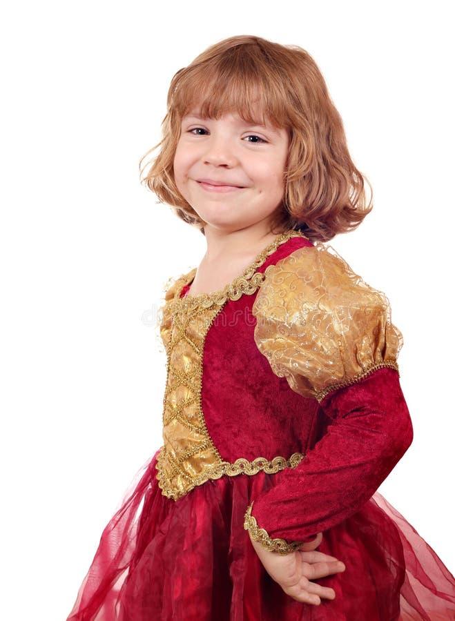 Kleines Mädchen im goldenen roten Kleid lizenzfreies stockfoto