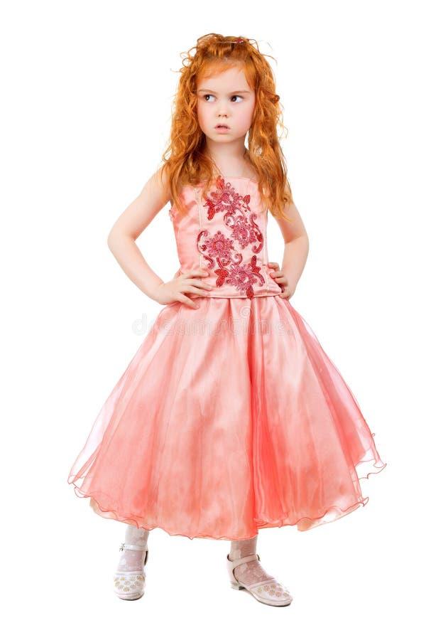 Kleines Mädchen im rosa Kleid stockbilder