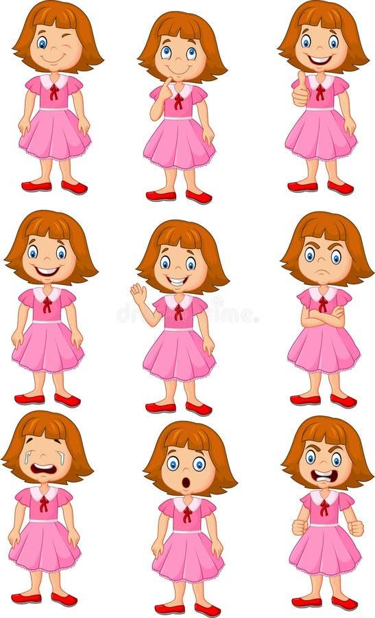 Kleines Mädchen im verschiedenen Ausdruck lokalisiert auf weißem Hintergrund stock abbildung