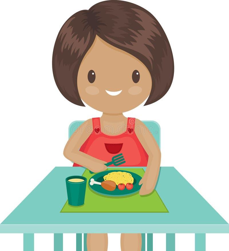 Kleines Mädchen isst ihr Abendessen lizenzfreie abbildung