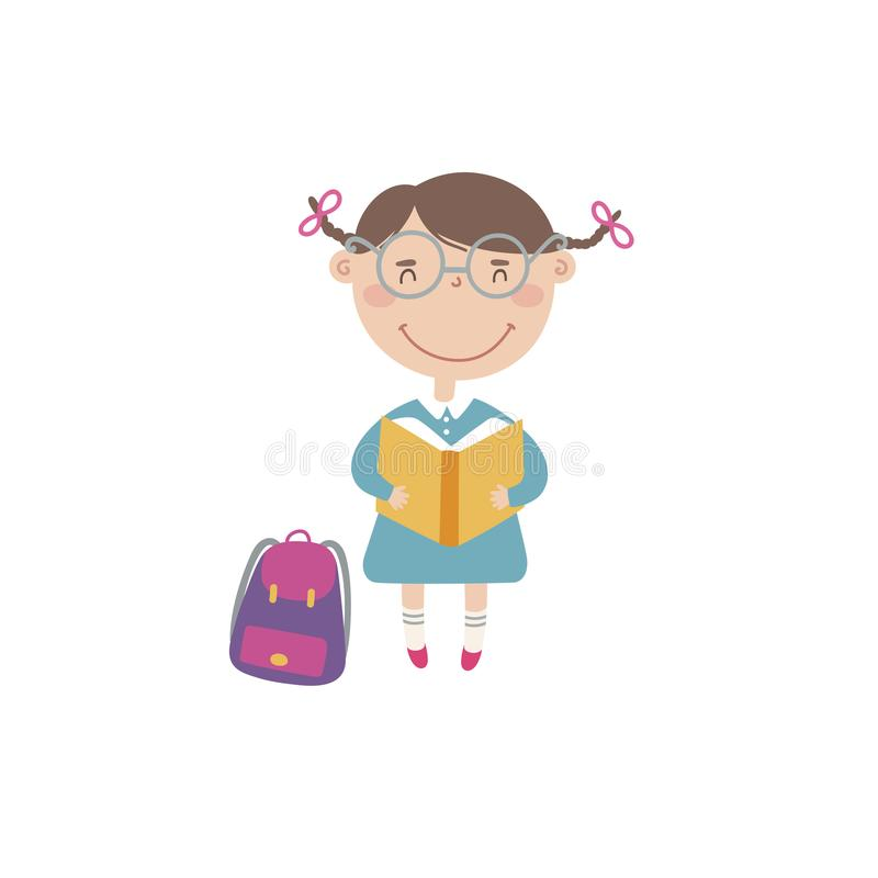 Kleines Mädchen mit Buch und Rucksack lizenzfreie abbildung
