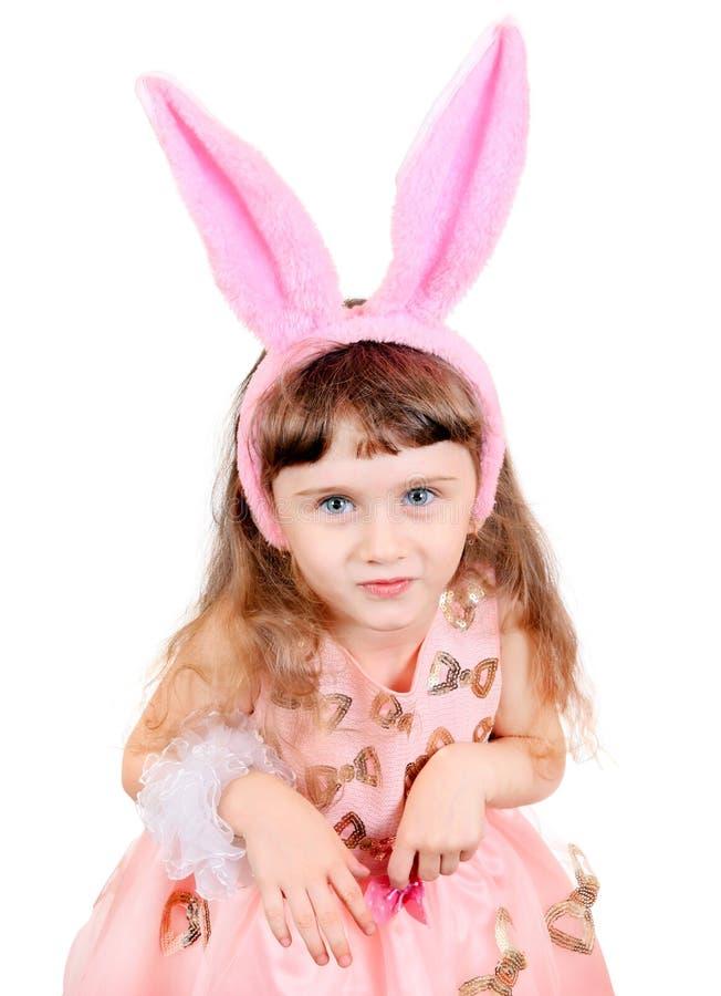 Kleines Mädchen mit den Häschenohren lizenzfreie stockfotos