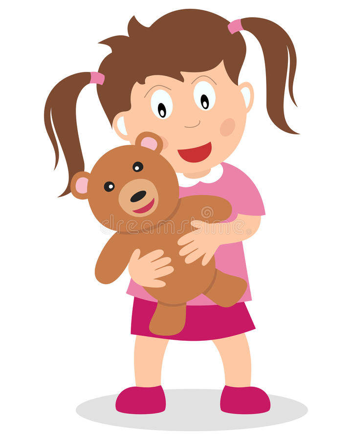 Kleines Mädchen mit einem Teddybären lizenzfreie abbildung