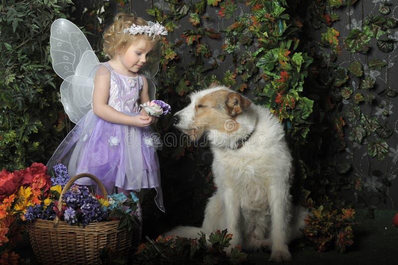 Kleines Mädchen mit Flügeln und einem Hund stockbild
