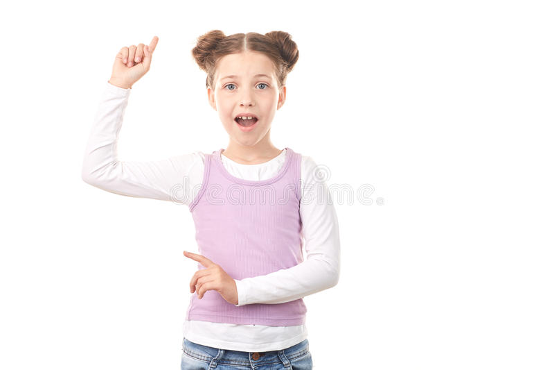Kleines Mädchen mit Haarbrötchen lizenzfreies stockfoto