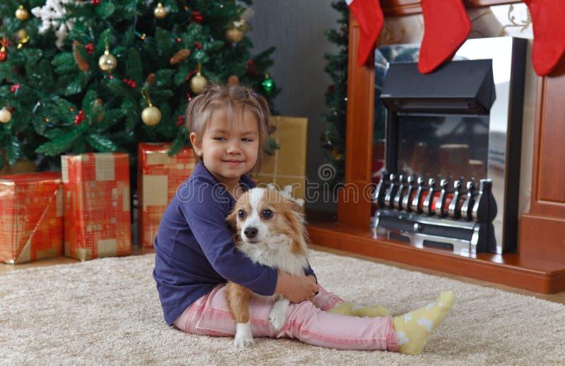 Kleines Mädchen mit Hund auf dem Teppich stockbilder