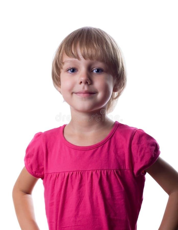 Kleines Mädchen mit Orange lizenzfreie stockfotografie