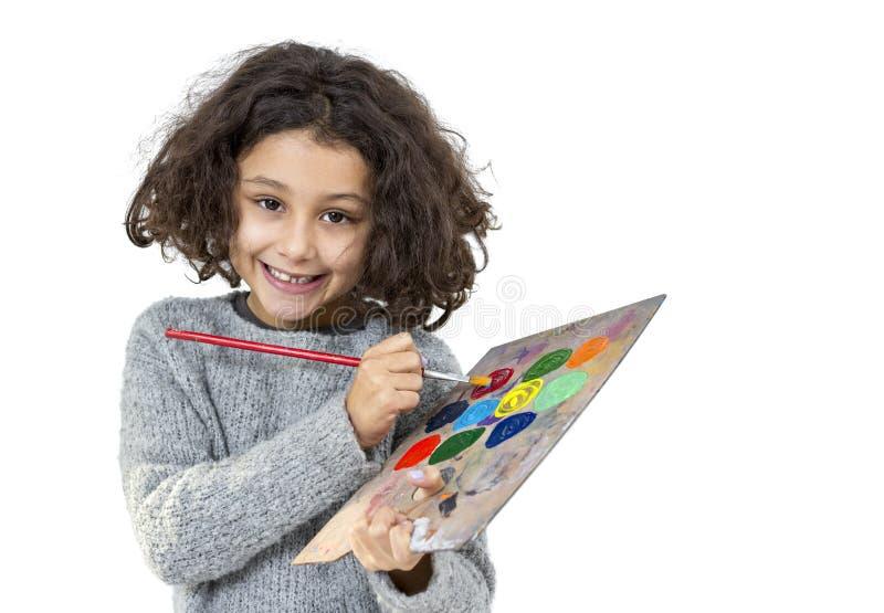 Kleines Mädchen mit Palette stockbild