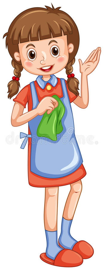 Kleines Mädchen mit Putztuch vektor abbildung