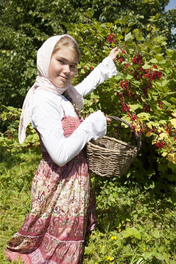 Kleines Mädchen mit roter Johannisbeere lizenzfreie stockfotos