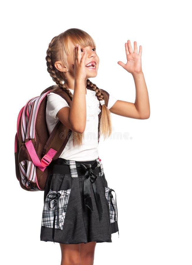 Kleines Mädchen mit Rucksack stockfoto