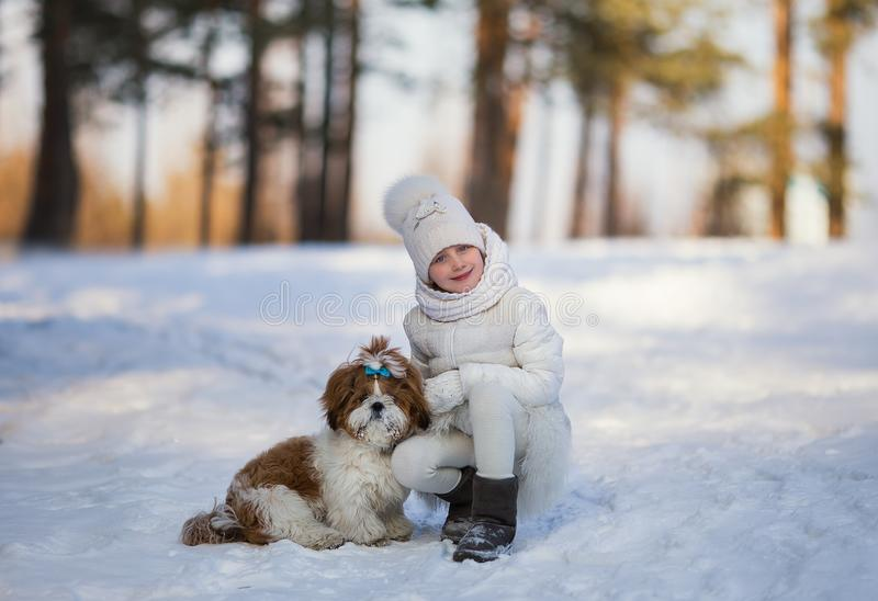Kleines Mädchen mit Schoßhund für einen Weg lizenzfreies stockbild