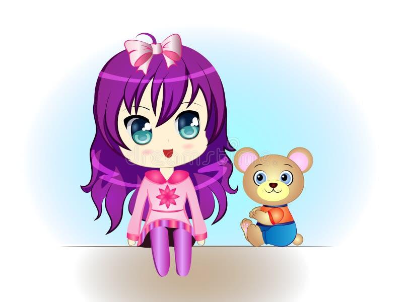 Kleines Mädchen mit Teddybären lizenzfreie abbildung