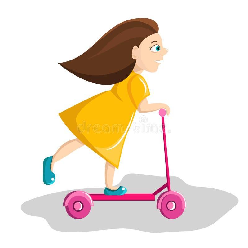 Kleines Mädchen reitet einen Roller stockbilder